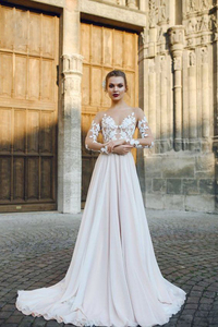 Image 2 - Scoop Tulle Neckline Long Sleeves Lace Applique A line Wedding Dress with Backless Sweep Train Illusion Robe de mariée