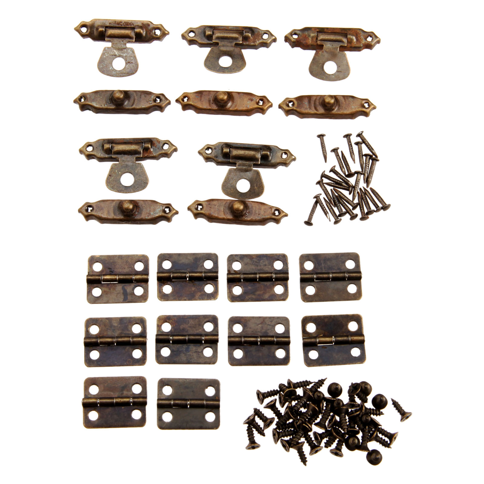 10Pcs 16*13mm Antique Bronze Furniture Cabinet Hinges + 5Pcs 26*15mm Jewelry Wood Box Toggle Hasp Latch Lock Furniture Hardware