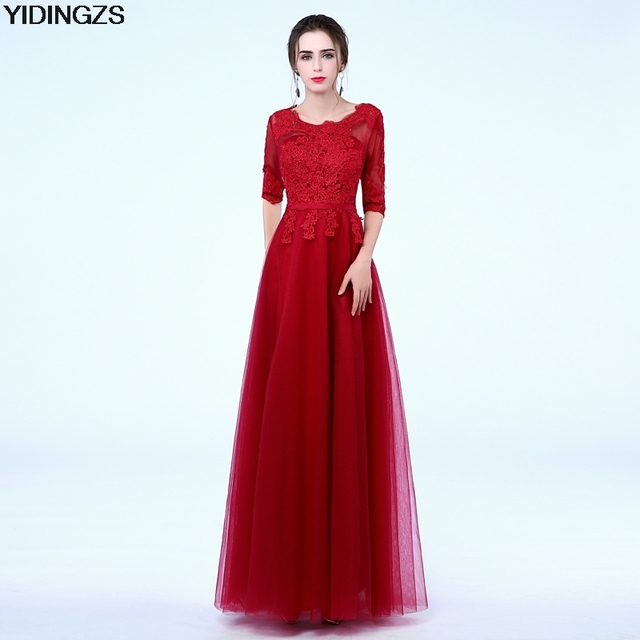 Robe De Soriee New Simple Wedding Dress Full Sleeve Lace: YIDINGZS Elegant Gray Lace Long Evening Dresses Half