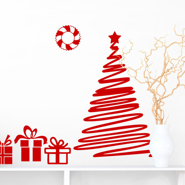 Merry Christmas Wall Stickers Removable Decorative Sticker Xmas Tree
