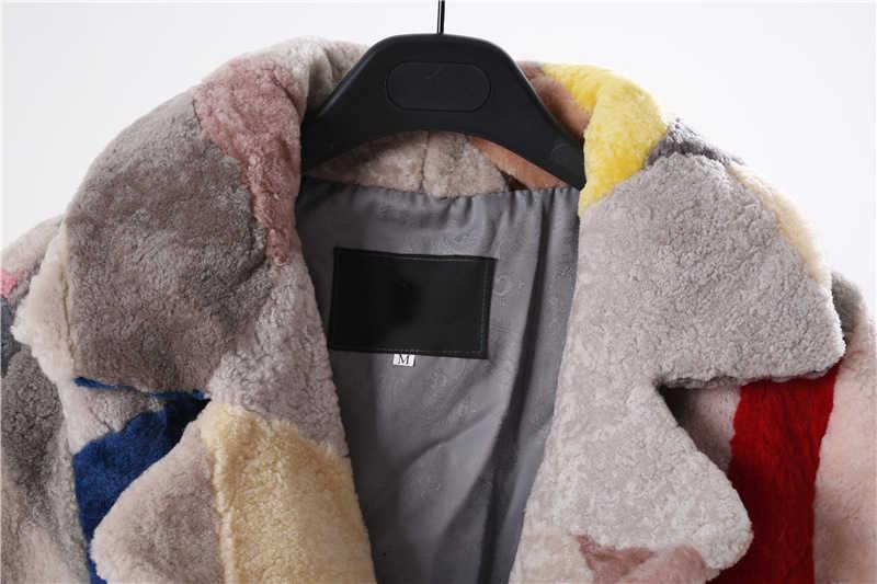 고귀한 리얼 모피 양모 코트 여성용 겨울 패션 울 코트 여성 따뜻한 아웃웨어 패치 워크 양털 깎기 자켓