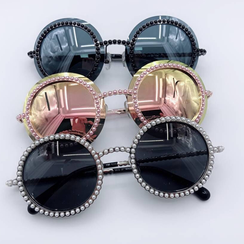 Shades No1 De Box Feminino Sunglasses Sonnenbrille Mit Frauen Sunglasses no2 Perlen Spiegel no3 Runde Rahmenlose Sol Sunglasses Original Oculos yfOzzAXqU