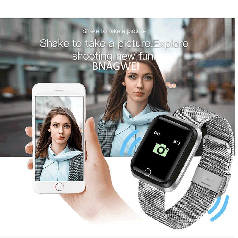LIGE браслет из нержавеющей стали спортивный умный Браслет IP67 водонепроницаемые часы Шагомер монитор сердечного ритма СВЕТОДИОДНЫЙ цветной экран Android ios