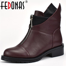 FEDONAS Fashion New Women Ankle Boots Thick High Heels Warm Short Ladies Shoes Ladies Autumn Winter Motorcycle Boots Shoes Woman