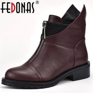 Image 1 - FEDONAS Fashion New Women Ankle Boots Thick High Heels Warm Short Ladies Shoes Ladies Autumn Winter Motorcycle Boots Shoes Woman