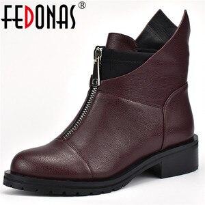 Image 1 - FEDONAS mode nouvelles femmes bottines épais talons hauts chaud court dames chaussures dames automne hiver moto bottes chaussures femme