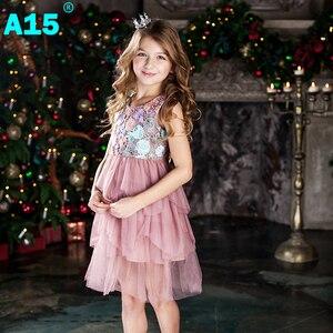 Image 3 - Vestido de fiesta A15 para niña 2017, vestido de encaje de verano para niño niña, vestido de fiesta de cumpleaños de princesa 6 8 10 12 años, ropa para niños