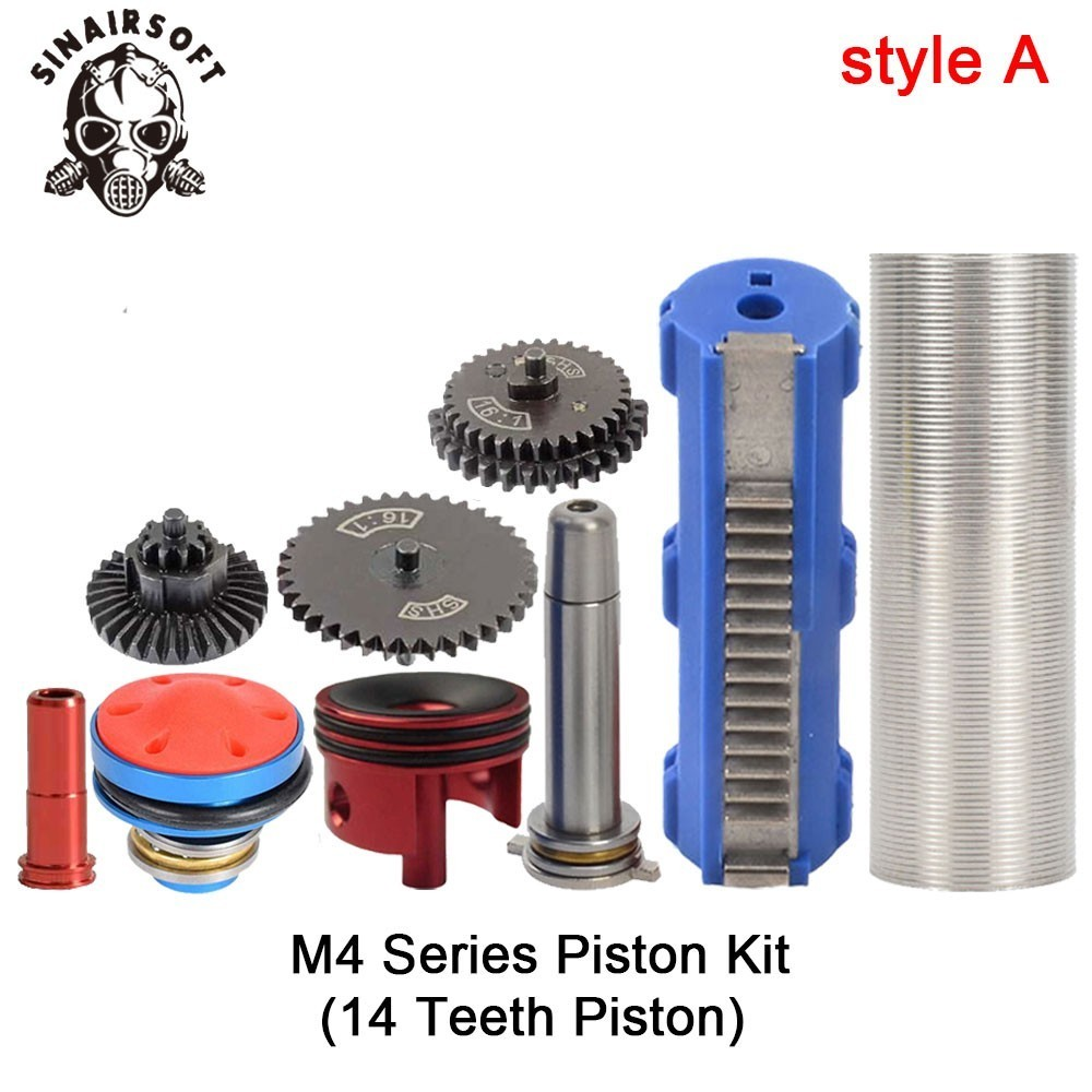 SHS-16-1-Gear-Nozzle-Cylinder-Spring-Guide-14-Teeth-Piston-Kit-Fit-Airsoft-M4-M16