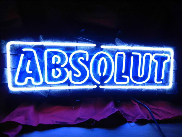 neon sign for absolute vodka signboard real glass beer bar pub
