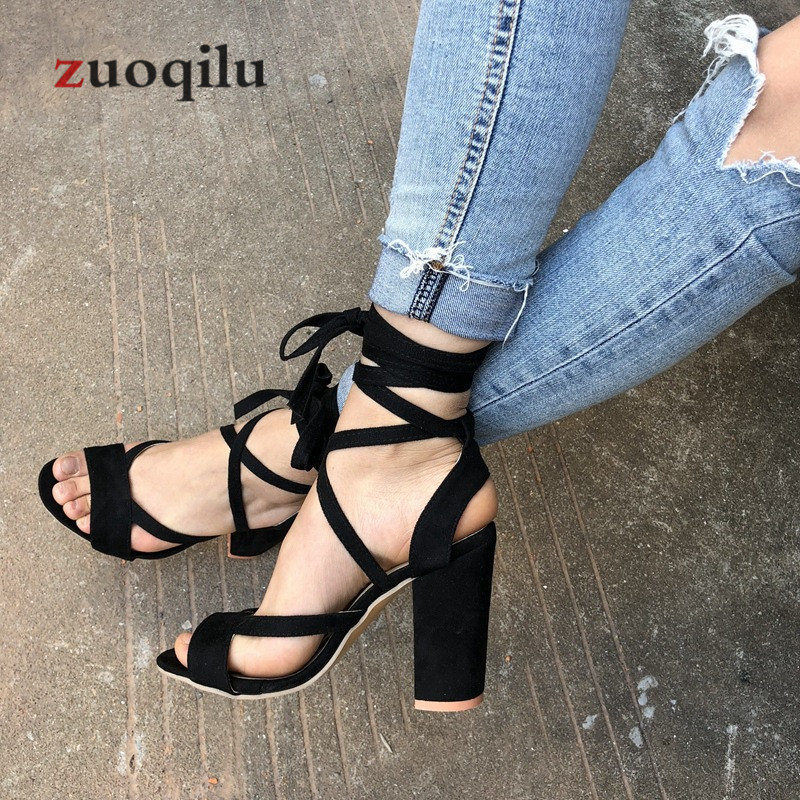 Women Pumps 2019 Ankle Straps High Heel Women Shoes Suede Red Ladies Shoes High Heels Wedding Shoes Fish Mouth High Heels Black