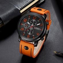 カレンメンズウォッチトップブランドの高級レザーストラップクォーツ腕時計メンズカジュアルスポーツドロップシッピング男性時計レロジオ Masculino