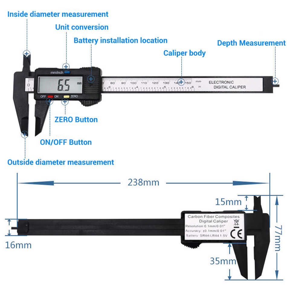 6inch 150mm digital vernier caliper plastic 6inch micrometer carbon  fiber calibre digital calipers without battery wirldlight