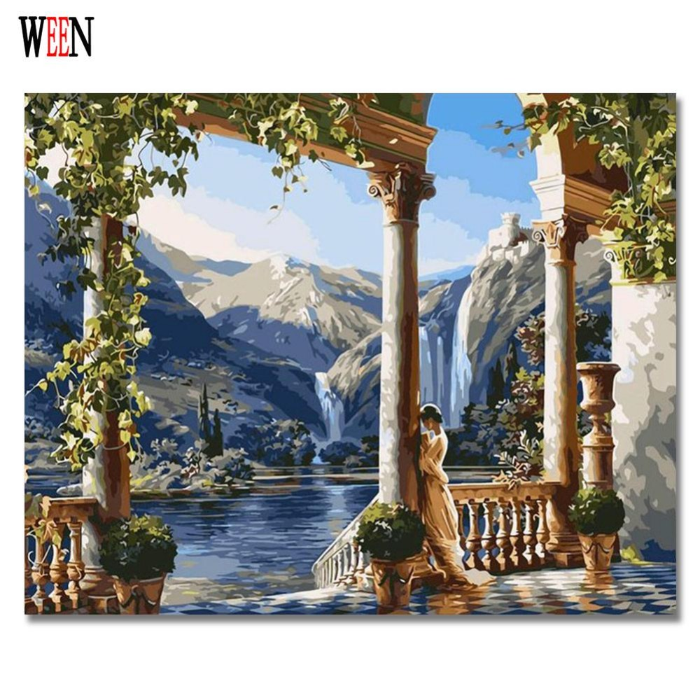 WEEN Manor Oil Pictures By Numbers DIY Girl Digital Coloring By Numbers On Canvas Gifts 40x50cm 2017 DIY Hand Painting Home Gift