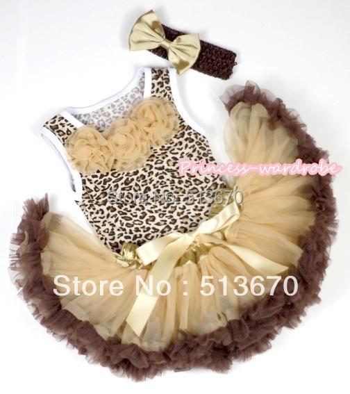 Leopardo Pettitop con vara de oro rosetas con Dark Light Brown recién nacido Pettiskirt y diadema marrón Goldenrod Satin arco MANP023