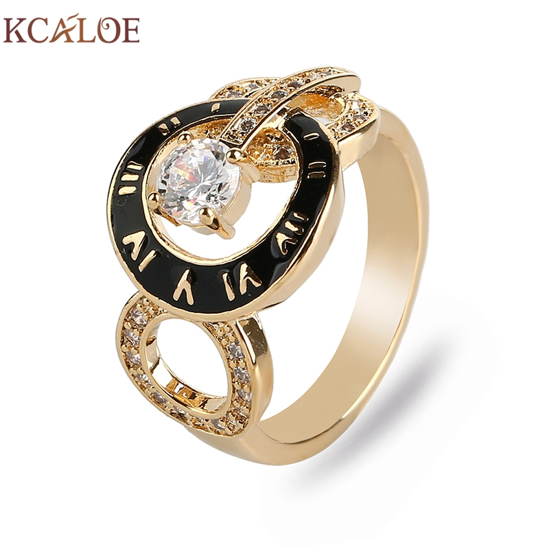 KCALOE Brand Women Rings Gold/Rose Gold Color Cubic Zirconia Rhinestone Drip Oil Fashion Roman Numerals Female Ring Anillos