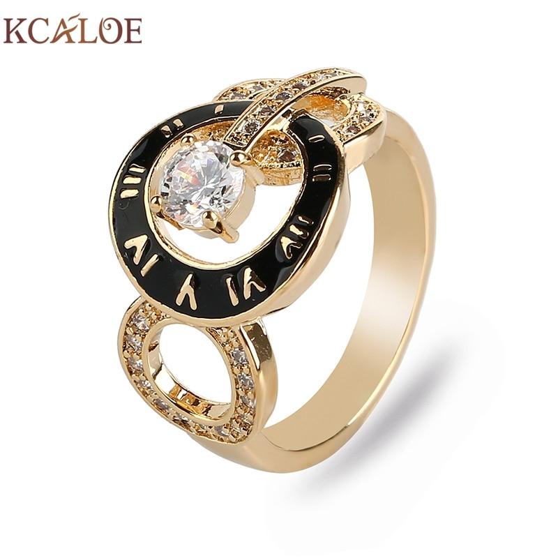 KCALOE marca mujeres Anillos oro/oro rosa Color cúbico Zirconia Diamante de imitación goteo aceite moda números romanos anillo femenino Anillos