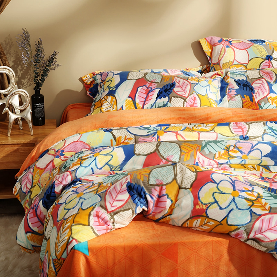 Colorful Leaves Printed Duvet Cover Sets Queen King Size