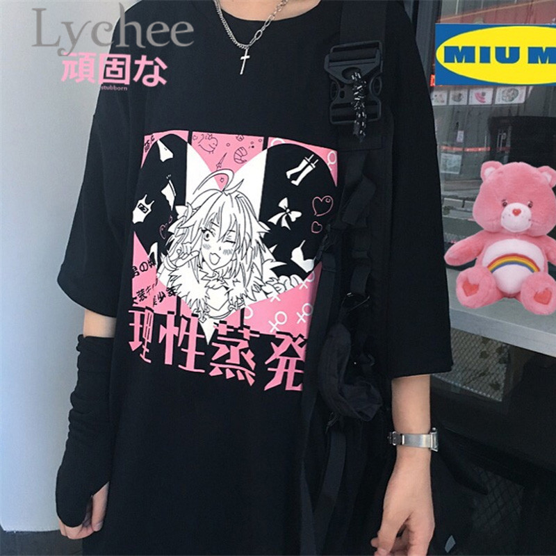 Lychee Streetwear Japanese Girl Heart Print Women Top Tees T-shirt Short Sleeve Crew Neck Loose Spring Female T Shirts