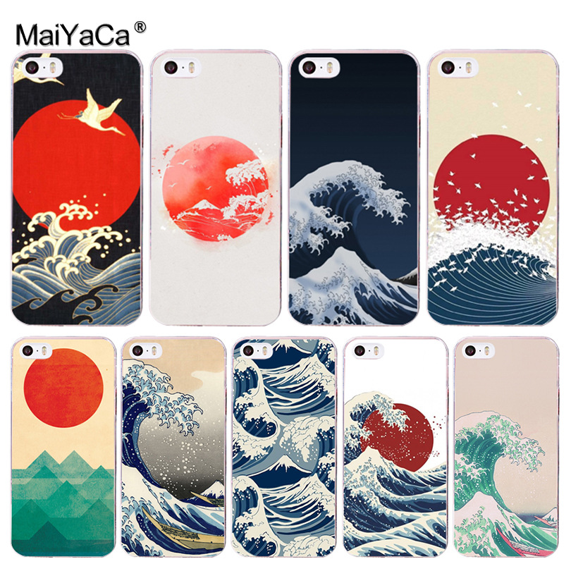 MaiYaCa Wave Art Japanese Green Illust Coque Phone Cases for Apple iPhone 8 7 6 6S Plus X 5 5S SE 5C 4 4S Cover