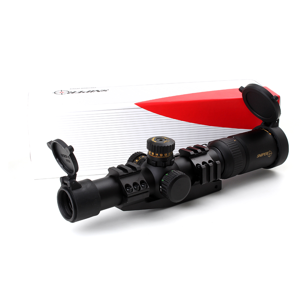 Tactical SNIPER NT 1-6X24 L Hunting Riflescopes Optical Sight Compact Mil dot Glass Etched Reticle R/G llluminate Rifle Scope sniper white version of the sniper 6 24x50aol traffic light mil dot sight optical cross earthquake sniper scope