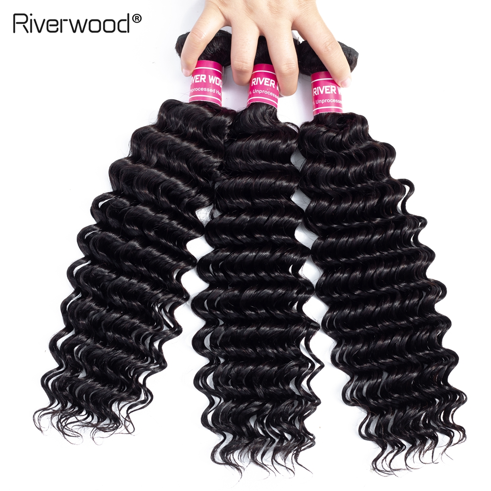 Deep Wave Bundles Brazilian Hair Weave 1/3/4 Bundles 100% Human Hair Weaving Bundle Deals Remy Hair Extensions Tangle Free