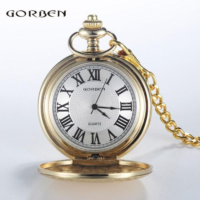 Vintage Luxury Golden Silver Quartz Pocket Watch Roman Numerals Dial with Fob Ch