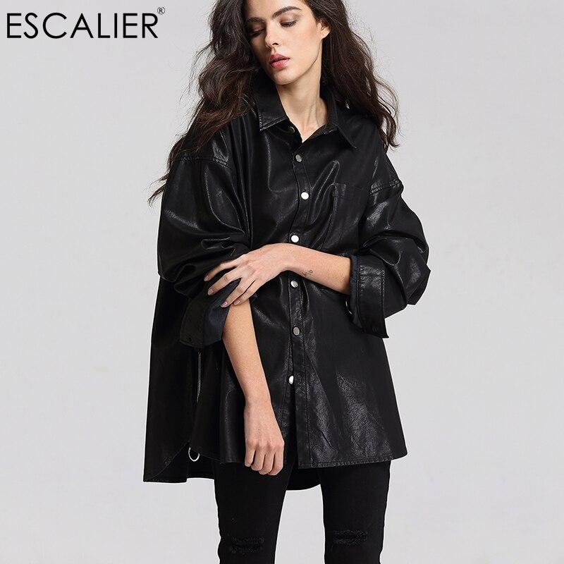 ESCALIEA Basic Jacket Women s Washed PU Leather Jacket Fashion Turn down Collar Button Coats Free