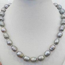 Новое ожерелье с натуральным жемчугом TAHITIAN серебряного цвета, 10-11 мм, 18 дюймов, AAA