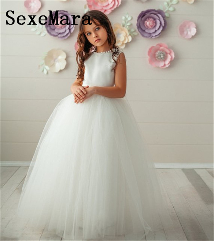 New Flower Girl Dresses White Ivory Birthday Dress O Neck Solid Evening Gown First Communion Dresses For Girls Vestido Longo mag taller mag taller школьный рюкзак cosmo iv hockey