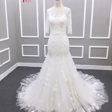 Jark Tozr 2019 Three Quarter Sleeve Mermaid Wedding Dress