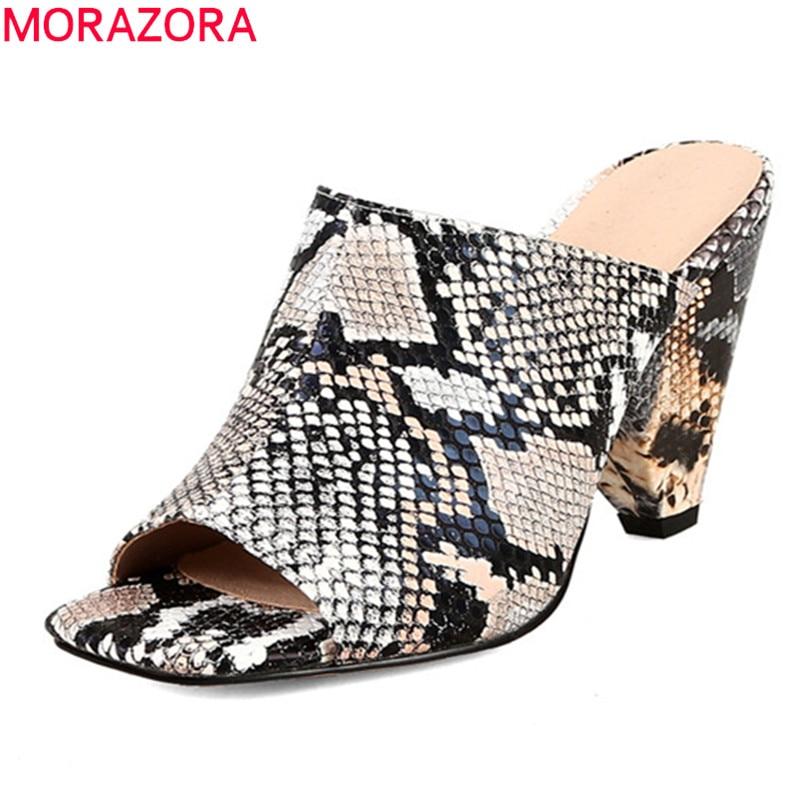 MORAZORA 2019 new fashion style women sandals peep toe high heels shoes slip on comfortable dress