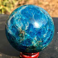 45-50MM Natural blue apatite stone sphere crystal reiki healing ball