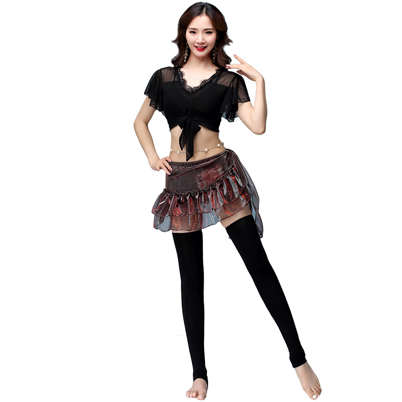 2018 New Girls Belly Dance Clothing Training Outfits Class Wear Spandex Costume Set 3 Pieces (Top+Hip Scarf+Leggings)