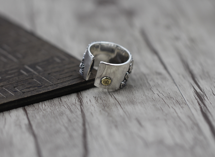 S925 Sterling Silver Mens Ring Personality style classic retro simple Engraved dragon opening shape Send a gift to love