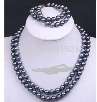 Women Gift Freshwater Handmade 2 Row Black Cultured Pearl Bead Choker Necklace