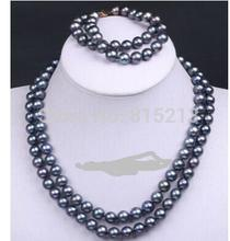 Women Gift Freshwater Handmade 2 Row Black Cultured Pearl Bead Choker Necklace
