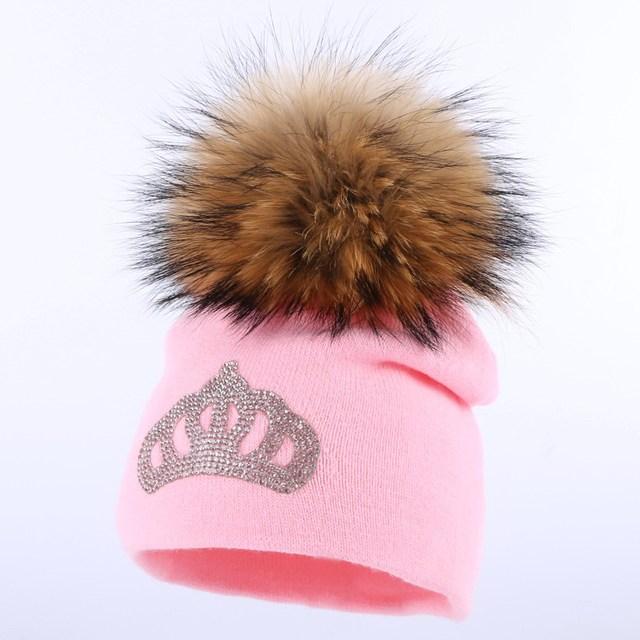 602be73343407 US $4.97 30% OFF|new design baby mink pompom winter hat children beanies  crown skullies cotton casual rhinestone outdoor girl boy cute gorro hats-in  ...