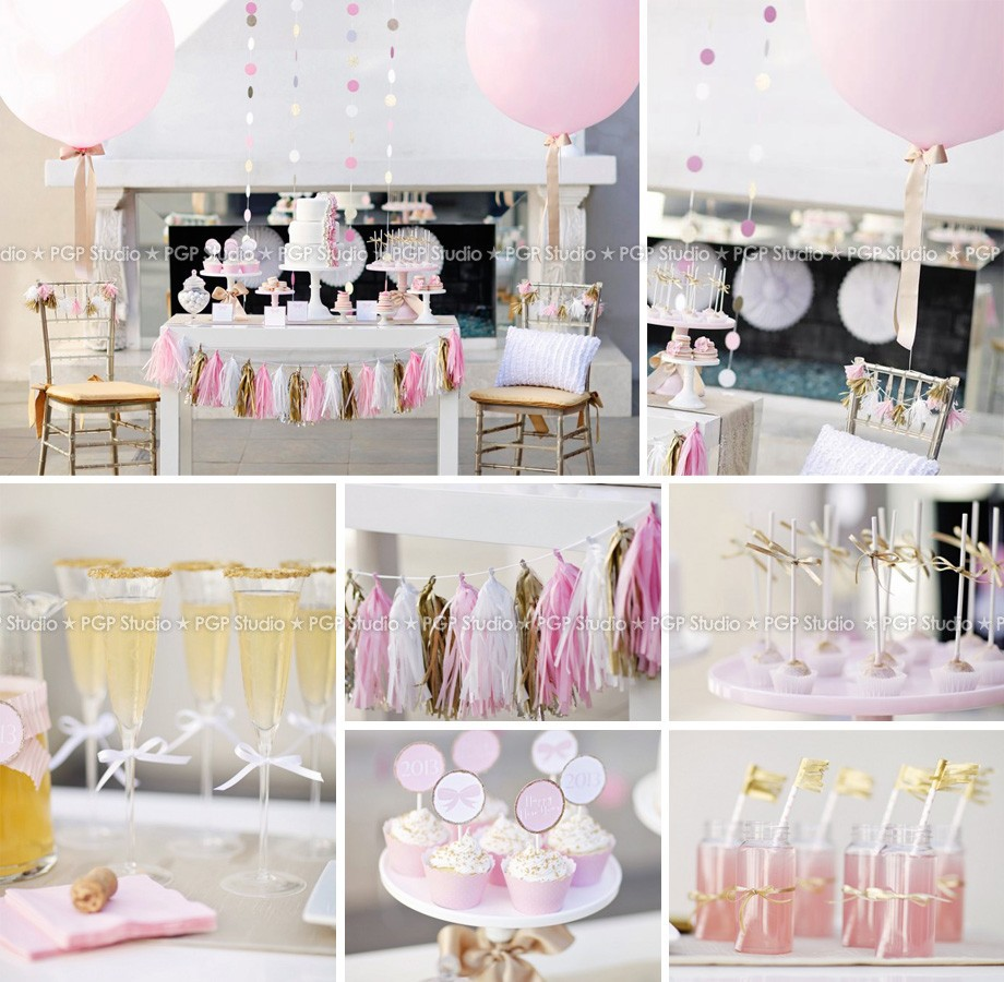 PGP] Pink & Gold Party Set, Balloon Ribbon Cake cups Tassel garland ...