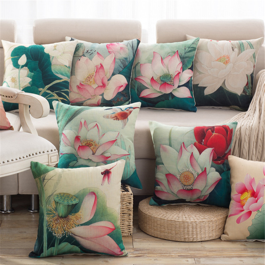 Chinese retro style throw pillow cover lotus flower cotton - Sofa de cojines ...