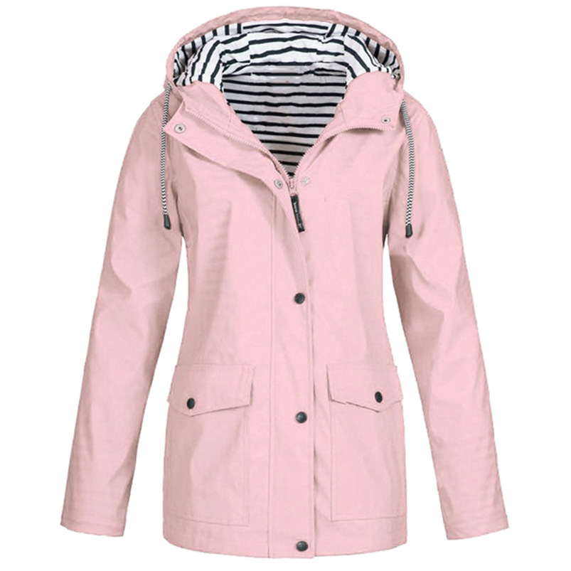 Rain Coat Women Plus Size Coat 2018 Long Sleeve Waterproof Jacket Hooded Raincoat Jacket Women Clothes Warm Coat Girl #O11 (23)