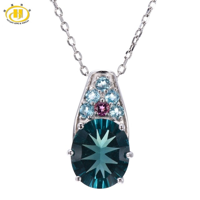 Hutang natural blue fluorite tourmaline apatite pendant 925 hutang natural blue fluorite tourmaline apatite pendant 925 sterling silver necklace gemstone fine jewelry mozeypictures Images