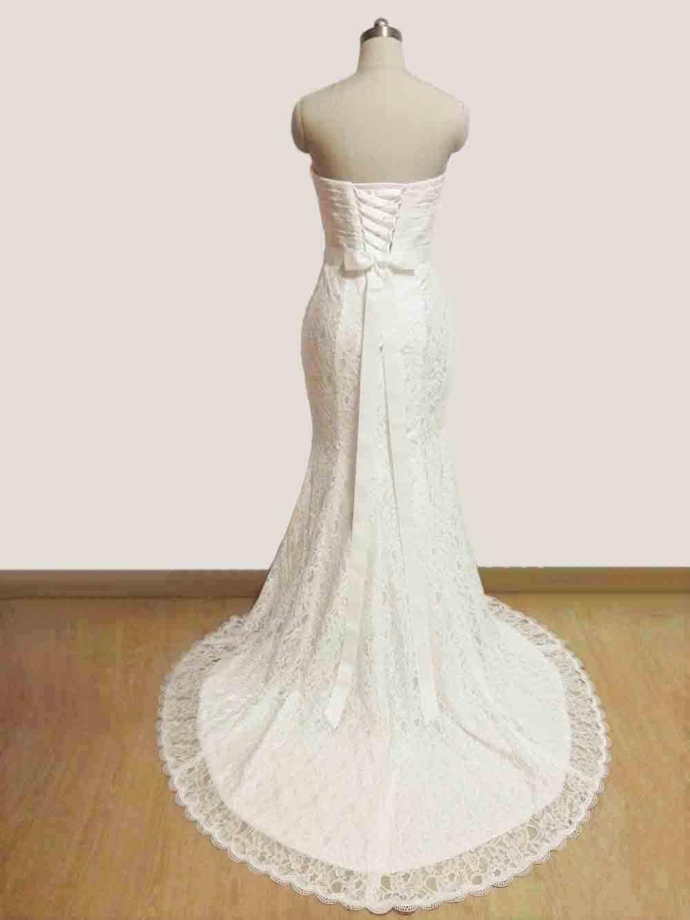 JIERUIZE vestidos de novia White Lace Mermaid Wedding Dresses 2017 Sash Sweetheart Lace Up Back Wedding Gowns abiti da sposa 2