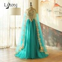 Teal Hunter Xanh Vàng Appliques Dài Cape Trung Đông Saudi Arabia Tầng Length Two-piece Evening Dress Nữ Dài Formal Gown