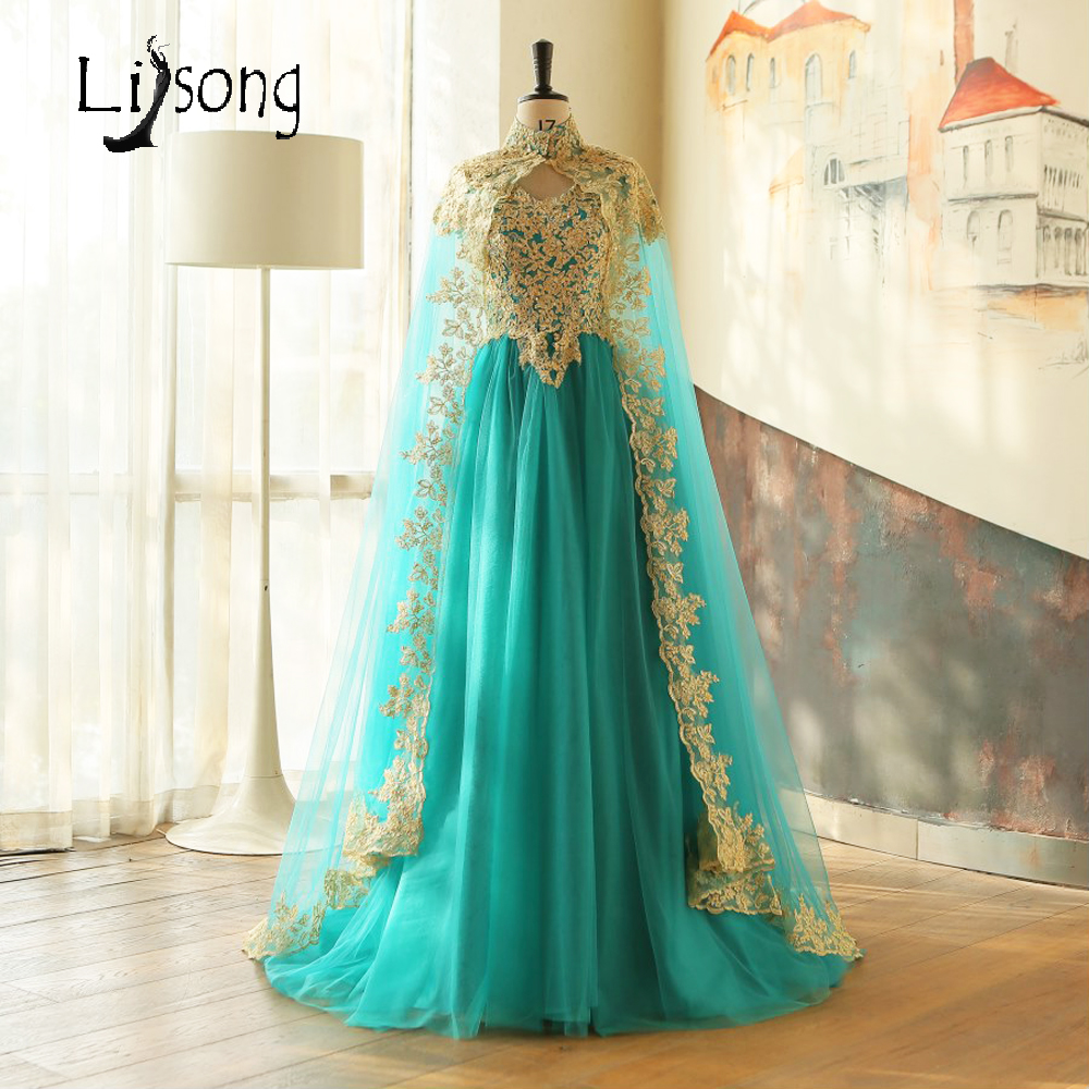 Teal Hunter Green Gold Appliques Long Cape Middle East Saudi Arabia Floor Length Two-piece   Evening     Dress   Women Long Formal Gown