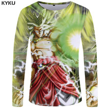 e9c94582 KYKU Dragon Ball Z T shirt Men Long sleeve shirt Goku Mens Clothing Green  Hair Funny T
