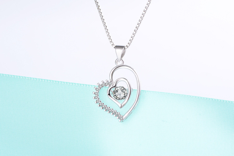 DIP16 Women fine jewelry,delicate love heart pendant,fashion and all-match 925 silver necklace for your lover