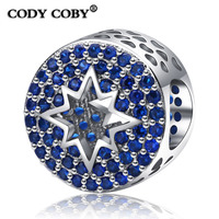 New 925 Sterling Silver Pave Blue Crystal Charms Beads Fit Pandora Bracelet Authentic Original Jewelry Wholesale Jewelry