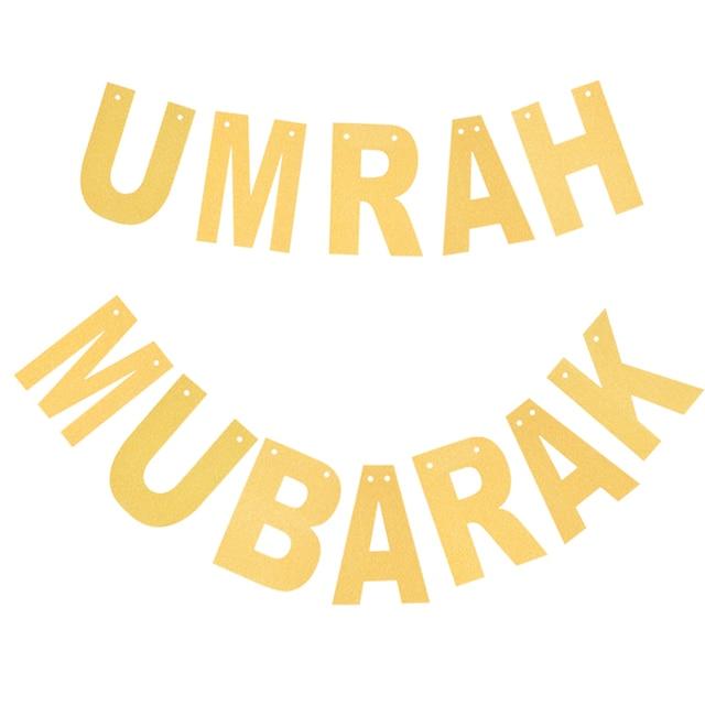 Umrah Banner: Umrah Mubarak Laser Cut Gold Glitter Paper Banner For
