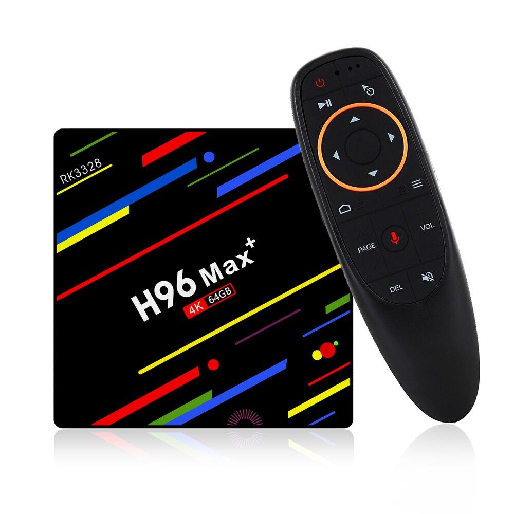 LEORY H96 Max Plus Smart TV Box RK3328 4g/64g Android 8.1 USB3.0 Commande Vocale Ensemble- top Box Soutien HD Netflix 4 k