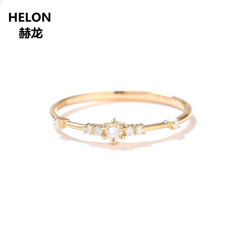 0.09ct bague en diamants naturels pour femmes solide 14 k or jaune bague de fiançailles de mariage bijoux fins